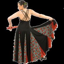Vestido flamenca con 6 tirantes cruzados a espalda y vuelo de capa y media E4089