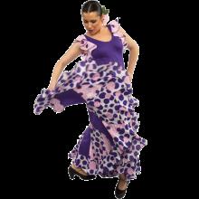 Vestido flamenca con volantes en las sisas y godés rematados con volante estampado E4502