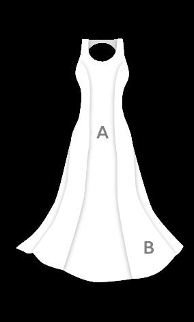 E3780 Vestido entallado cadera baja con vuelo 3 capas E3780