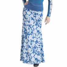 Falda flamenca lycra estampada azul petroleo sin godet EF271