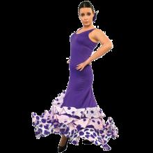 Vestido flamenca con 3 volantes que suben haciendo pico E4294