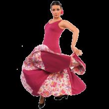 E3693 Vestido de ensayo para baile flamenco con godets