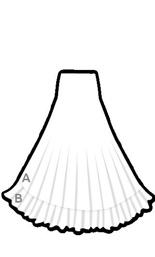 Falda de media capa con volante EF008