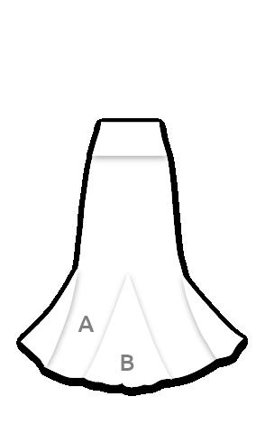 EF129 Falda flamenca con 3 godets entallada a medio muslo