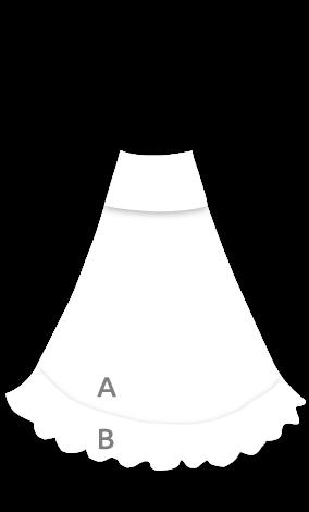 EF057 Falda con vuelo de capa desde cintura y 1 volant