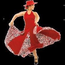 E3666 Vestido flamenca con atado al cuello con mucho vuelo y godés estampados