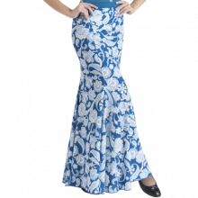 Falda estampada cachemir azul 4 palas ajustada medio muslo EF320