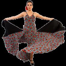 Vestido flamenca con espalda abierta, vuelo de tres capas E4287