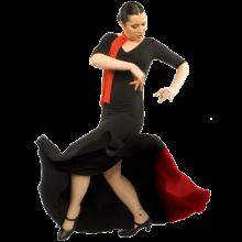 Vestido flamenca con escote con frunce y manga de 3/4 entalla a cadera y con godet trasero E4001