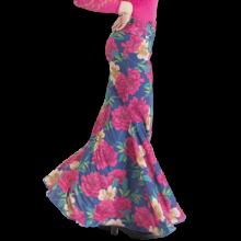 Falda flamenca lycra estampada azul flores rosas sin godet EF271