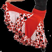 Falda flamenca para baile con godes, minigodes y volante EF075