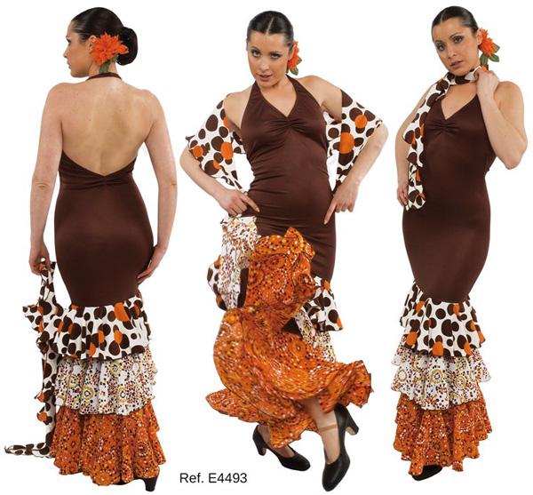 Vestido de flamenca en Oferta de tirantes de color naranja